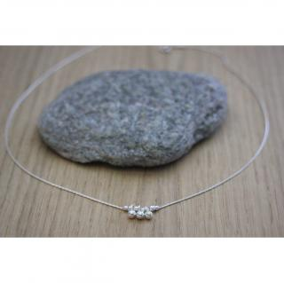 EmmaFashionStyle - Collier argent massif pendentif 3 petites perles - Collier - argent