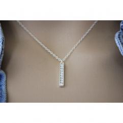EmmaFashionStyle - Collier argent massif pendentif barre orné de strass en cristal Swarovski - Collier - argent