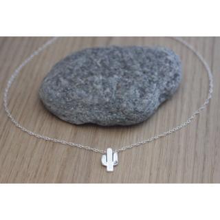 EmmaFashionStyle - Collier argent massif pendentif cactus - Collier - argent