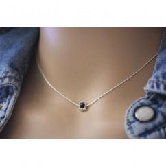 EmmaFashionStyle - Collier argent massif pendentif carré avec cristal Swarovski noir - Collier - argent