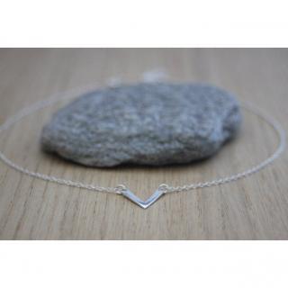 EmmaFashionStyle - Collier argent massif pendentif chevron - Collier - argent