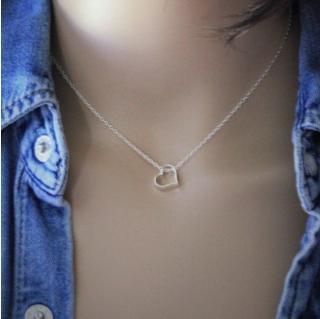 EmmaFashionStyle - Collier argent massif pendentif coeur 3D - Collier - argent