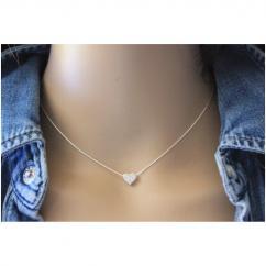EmmaFashionStyle - Collier argent massif pendentif coeur argent sertis de zirconium - Collier - argent