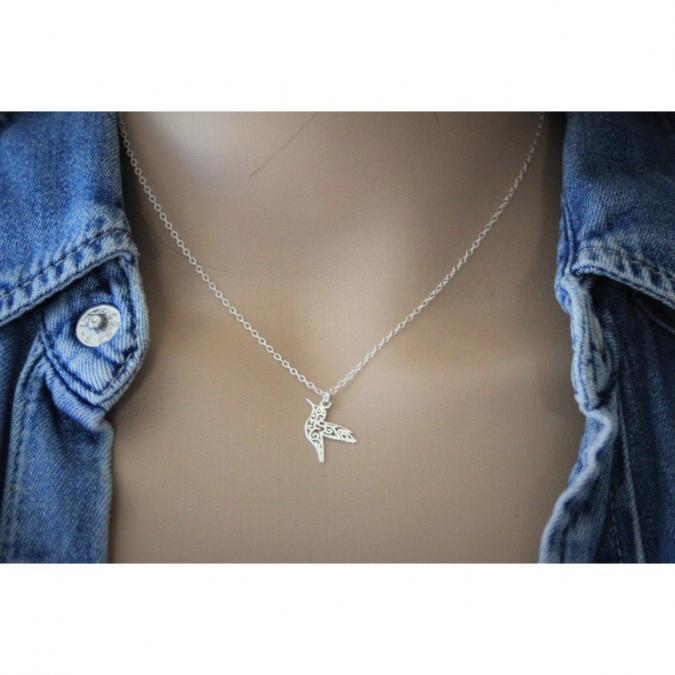 EmmaFashionStyle - Collier argent massif pendentif colibri - Collier - argent