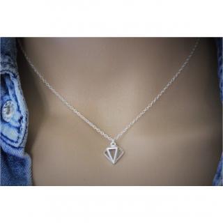 EmmaFashionStyle - Collier argent massif pendentif diamant 3D - Collier - argent