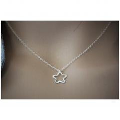 EmmaFashionStyle - Collier argent massif pendentif étoile martelée - Collier - argent
