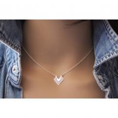 EmmaFashionStyle - Collier argent massif pendentif géométrique - Collier - argent