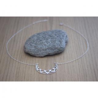 EmmaFashionStyle - Collier argent massif pendentif lune mandala - Collier - argent
