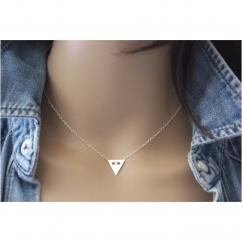 EmmaFashionStyle - Collier argent massif pendentif médaille triangle - Collier - argent