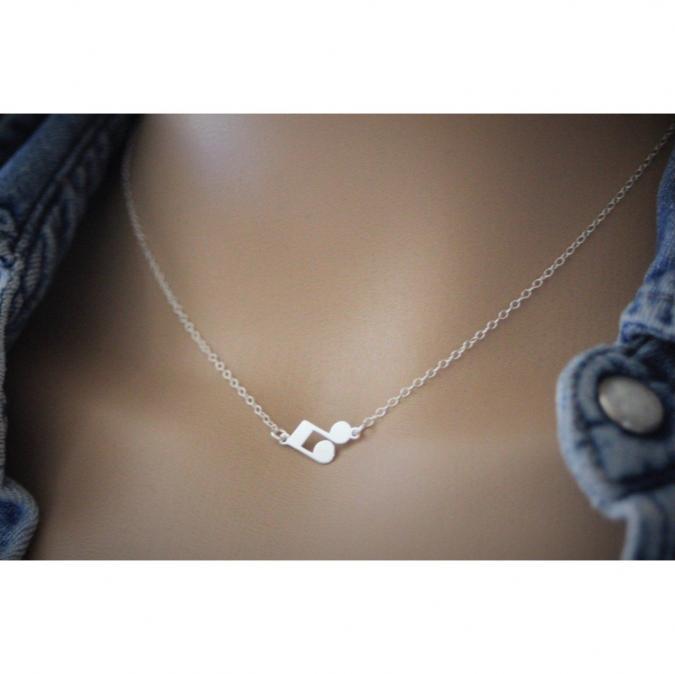 EmmaFashionStyle - Collier argent massif pendentif note de musique double croche - Collier - argent