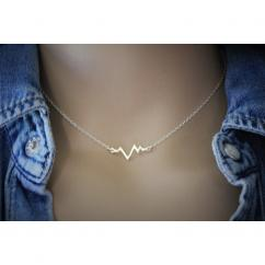 EmmaFashionStyle - Collier argent massif pendentif ondes rythme cardiaque - Collier - argent