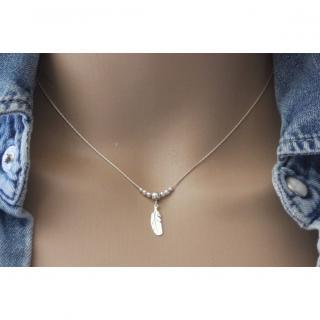 EmmaFashionStyle - Collier argent massif pendentif perles et plume - Collier - argent