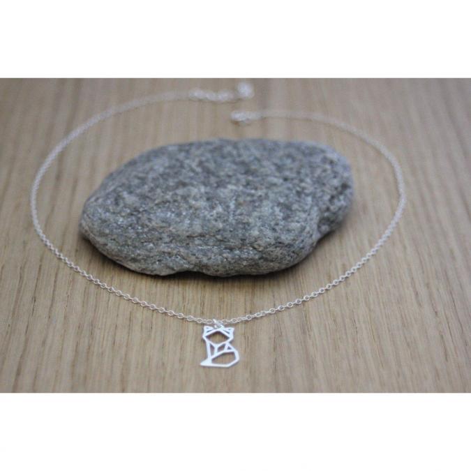 EmmaFashionStyle - Collier argent massif pendentif renard origami - Collier - argent