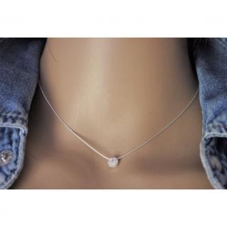 EmmaFashionStyle - Collier argent massif pendentif rond argent sertis de zirconium - Collier - argent
