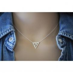 EmmaFashionStyle - Collier argent massif pendentif triangle graphique - Collier - argent