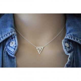 EmmaFashionStyle - Collier argent massif pendentif triangle graphique - Collier - argent