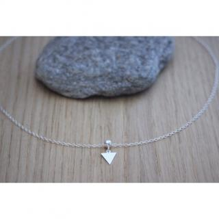 EmmaFashionStyle - Collier argent massif petite médaille triangle - Collier - argent
