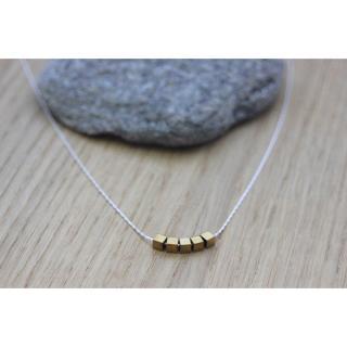 EmmaFashionStyle - Collier argent massif petits cubes en hématite doré 3mm - Collier - argent