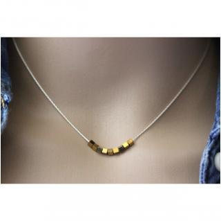 EmmaFashionStyle - Collier argent massif petits cubes en hématite dorée 2mm - Collier - argent