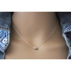 EmmaFashionStyle - Collier argent massif rondelle strass en cristal Swarovski - Collier - argent
