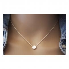 EmmaFashionStyle - Collier argent pendentif rond orné d'un cristal swarovski - Collier - argent