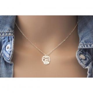 EmmaFashionStyle - Collier argent pendentif tête de mort mexicaine - Collier - argent