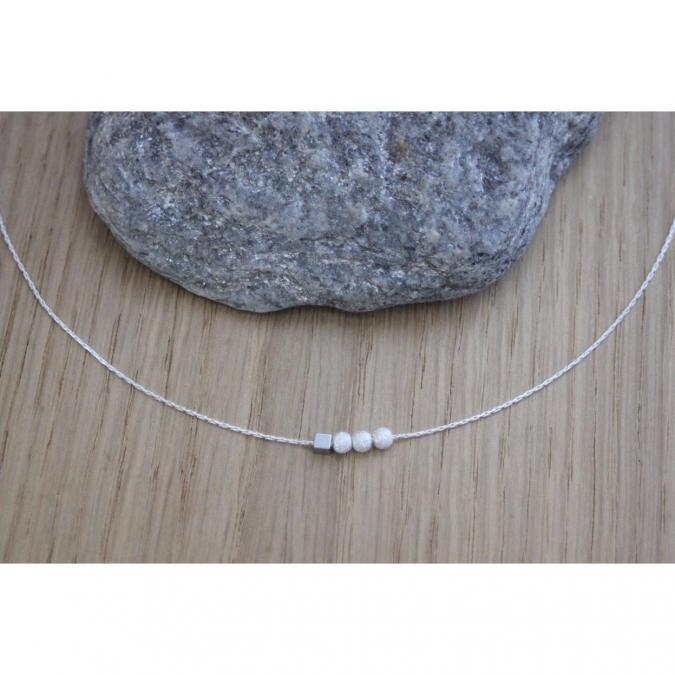 EmmaFashionStyle - Collier argent petites perles diamantées et cube hématite - Collier - argent