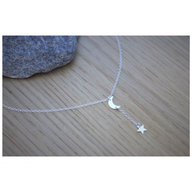 EmmaFashionStyle - Collier cravate en argent massif avec lune et pendentif étoile - Collier - argent