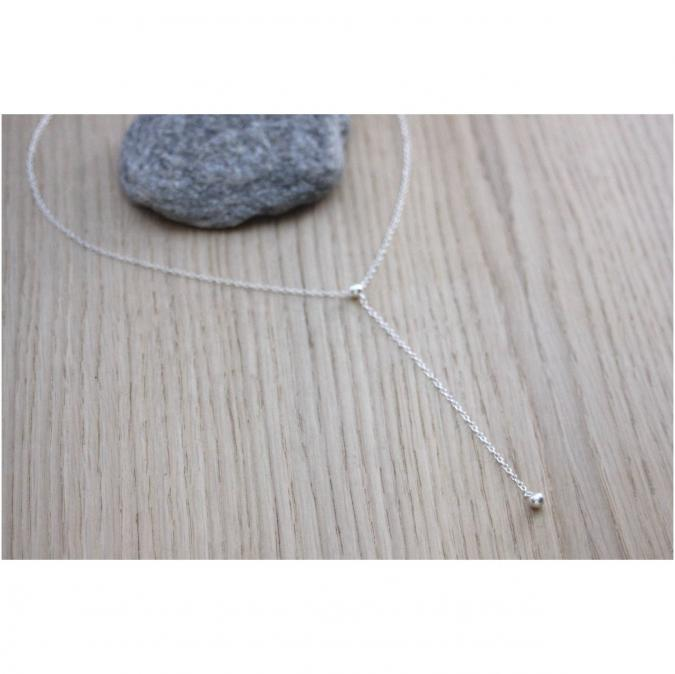 EmmaFashionStyle - Collier cravate en argent massif pendentif boule - Collier - argent