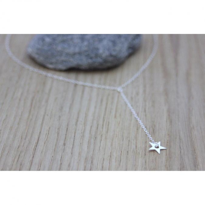 EmmaFashionStyle - Collier cravate en argent massif pendentif étoile - Collier - argent