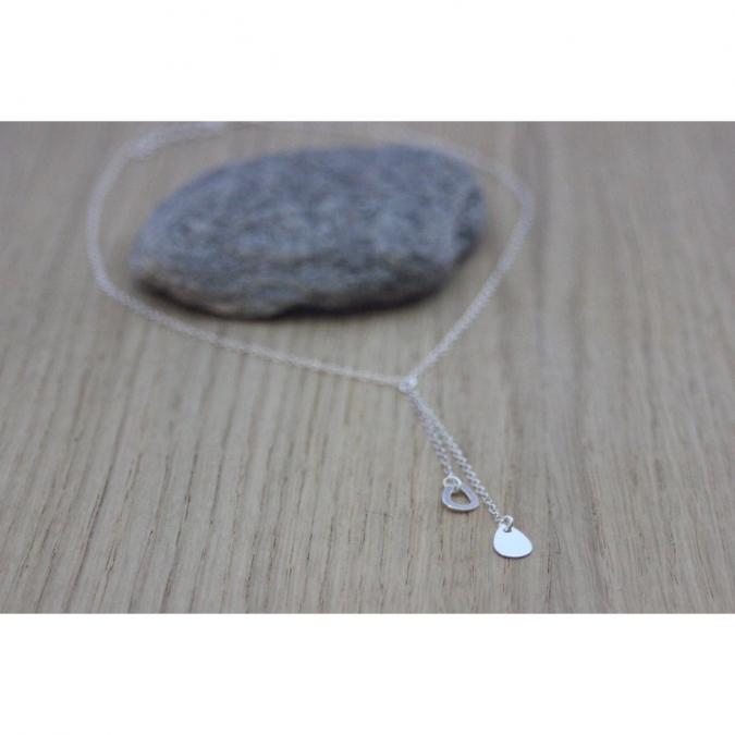 EmmaFashionStyle - Collier cravate en argent massif pendentif gouttes - Collier - argent