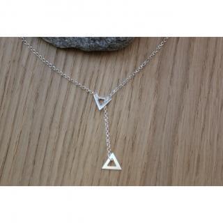 EmmaFashionStyle - Collier cravate en argent pendentif triangle - Collier - argent