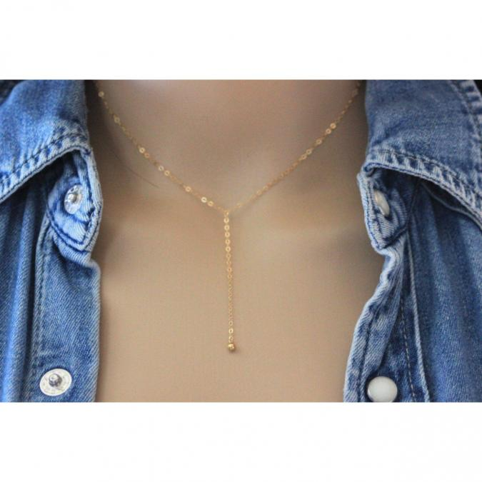 EmmaFashionStyle - Collier cravate en or Gold Filled pendentif boule - Bracelet - Or (gold filled)