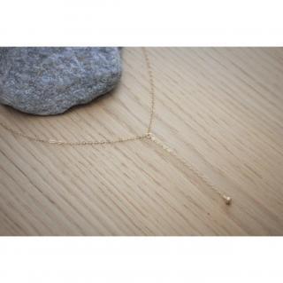 EmmaFashionStyle - Collier cravate en or Gold Filled pendentif boule - Bracelet - Or (gold filled)