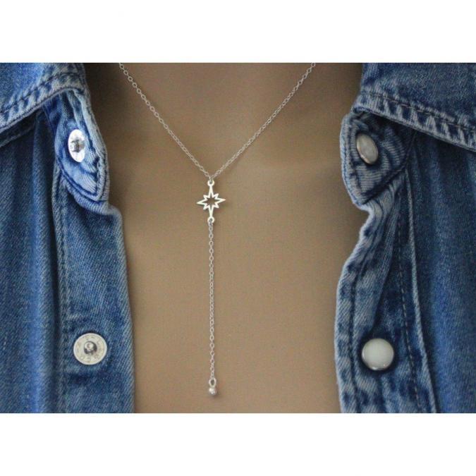 EmmaFashionStyle - Collier cravate étoile en argent massif pendentif boule - Collier - argent