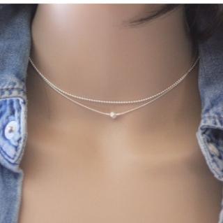 EmmaFashionStyle - Collier en argent massif double chaine et cristal - Collier - argent
