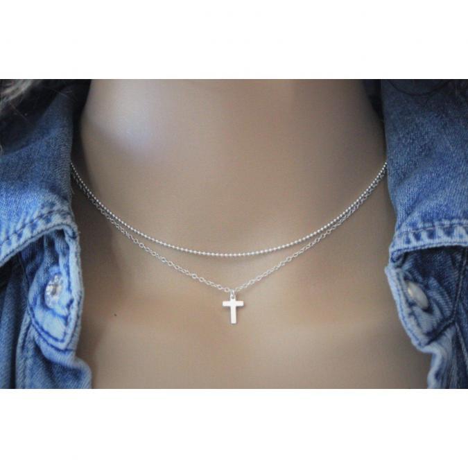 EmmaFashionStyle - Collier en argent massif double chaine et pendentif petite croix - Collier - argent