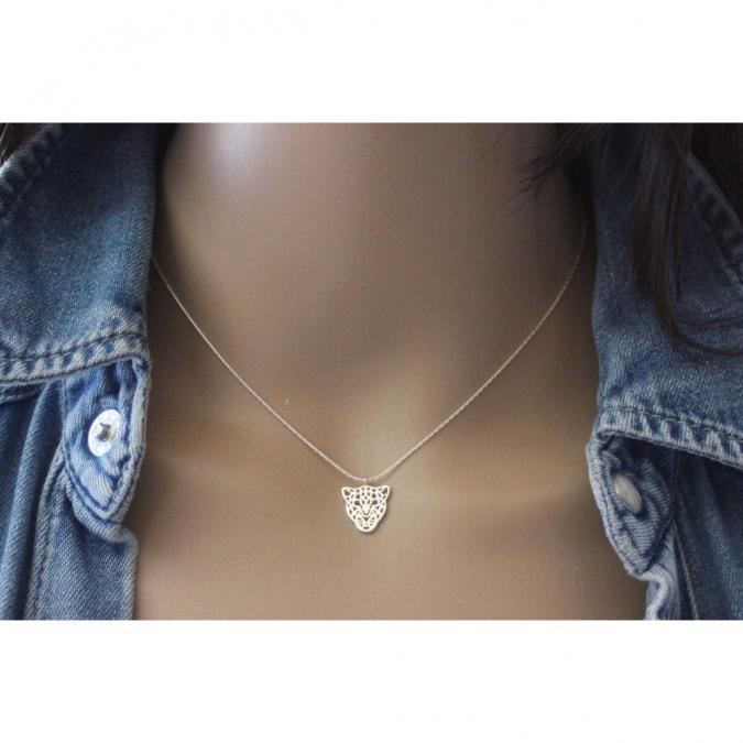 EmmaFashionStyle - Collier en argent massif pendentif léopard - Collier - argent