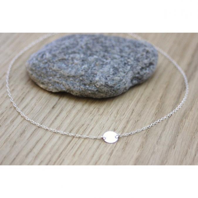 EmmaFashionStyle - Collier minimaliste argent médaille ronde - Collier - argent