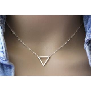 EmmaFashionStyle - Collier minimaliste triangle en argent massif - Collier - argent