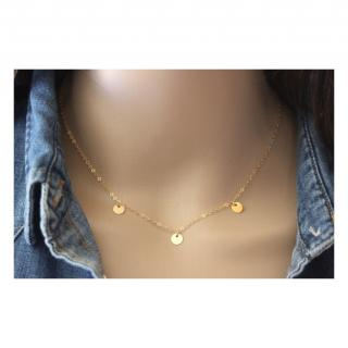 EmmaFashionStyle - Collier or Gold Filled 3 petites médailles rondes - Collier - Or (gold filled)