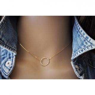 EmmaFashionStyle - Collier or Gold Filled pendentif cercle 15mm - Collier - Or (gold filled)