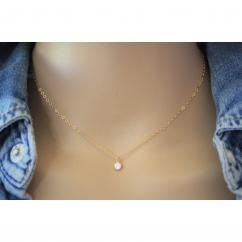 EmmaFashionStyle - Collier or gold filled pendentif diamant zirconium - Collier - Or (gold filled)