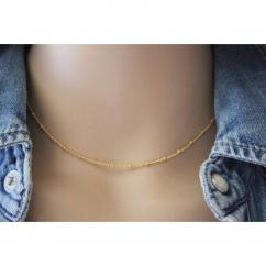 EmmaFashionStyle - Collier or ras de cou chaine perlée - Collier - Or