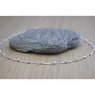 EmmaFashionStyle - Collier ras de cou argent massif chaine perlée - Collier - argent