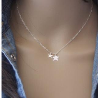 EmmaFashionStyle - Collier ras du cou en argent massif 2 étoiles - Collier - argent