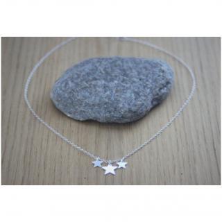 EmmaFashionStyle - Collier ras du cou en argent massif 3 étoiles - Collier - argent