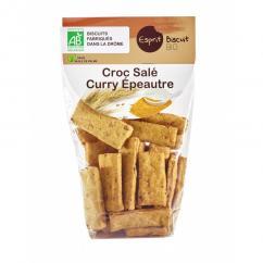 ESPRIT BISCUIT - Croc salé Curry Epeautre Bio - Apéritif et biscuits salés - 200 gr