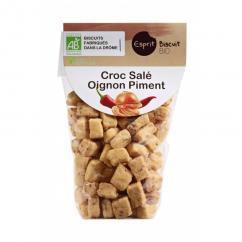 ESPRIT BISCUIT - Croc salé Oignon Piment Bio - Apéritif et biscuits salés - 200 gr