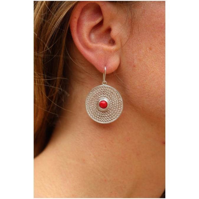 """Etcaetera Création - Boucles d'oreille """"Zigzague rojo"""" - Boucles d'oreille - argent"""